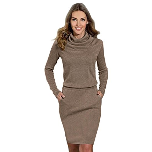 Btruely Kleid Damen Langarm Brautjungfer Cocktailkleid Strandkleid Slim Faltenrock MiniKleid Bleistift Geschäft Kleid Elegant Mädchen (XL, Kaffee)
