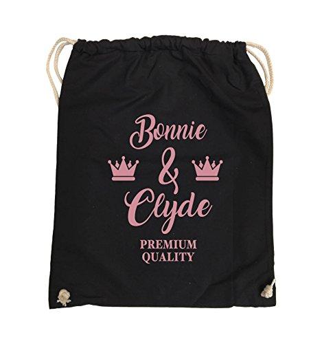 Buste Comiche - Bonnie & Clyde - Premium Motiv - Borsa Da Giro - 37x46cm - Colore: Nero / Argento Nero / Rosa