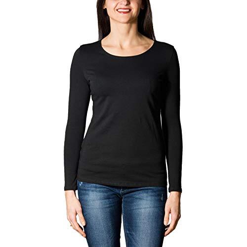 Alkato Damen Langarm Shirt mit O-Ausschnitt, Farbe: Schwarz, Größe: XL