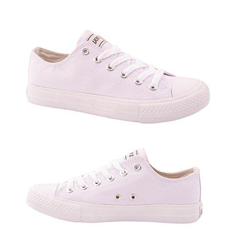 Elara Unisex Sneaker | Bequeme Sportschuhe für Damen und Herren | Low top Turnschuh Textil Schuhe 36-46 All White