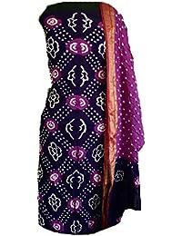 KATHIWALAS Women's Cotton Silk Bandhani Unstitched Salwar Suit Material (KA152, Magnta Perple, Free Size)