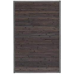 Alfombra de Salón o Comedor, Gris Oscuro, con Base Antideslizante, de Bambú Natural 60cm X 90cm - Hogar y Más
