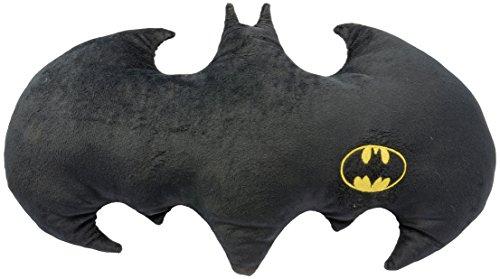 Batman Fledermaus Logo-kuscheliges Velboa, ca. 60 x 37 cm – 0122061 Kissen, Polyester, schwarz, 50 x 37 x 5 cm (Label Kissen Bett Kissen)