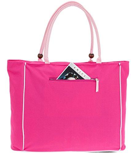 FABRIZIO Tasche SPORT SHOPPER XXL 50263 Weekender Strandtasche Sporttasche Einkaufstasche Flowers Pink 2200