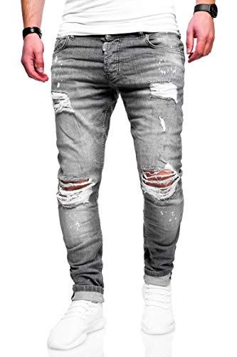 Herren Hosen (behype. Herren Destroyed Stretch Jeans-Hose Used Slim-Fit 80-2369 Grau W36/L32)