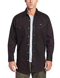Wrangler Mens Cowboy Cut Work Western Long Sleeve Shirt, Black, 2X Tall