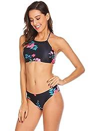 EKOUAER Damen Bustier Bikini High Neck Bikini-Set Druck Push up Badenanzug Blumendruck Neckholder Swimsuit Zweiteilig Schwimmanzug