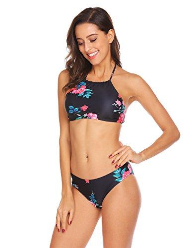 Ekouaer Damen Druck Bikini-Set Push up Badenanzug Blumendruck Neckholder Swimsuit Zweiteilig Schwimmanzug  EU 36(Herstellergröße: S) Blumen 2