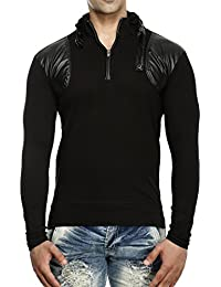 Tees Collection Men's Leather Flap Dragon Neck Full Sleeve T-shirt