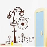 Top fashion new Reloj moderno reloj pegatinas de pared marrón creativo árbol sala de estar pared reloj pegatinas