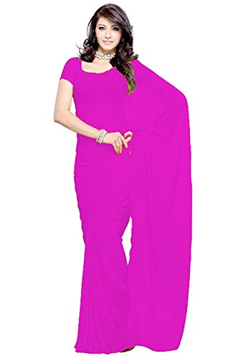 bright dark pink best color georgette saree plain
