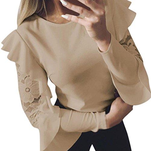 Fulltime® Femme à Manches Longues en Dentelle Couture O-Neck T-Shirt Pull Tops Chemisier Kaki