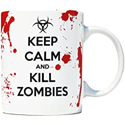 Taza mug desayuno de porcelana blanca 30 cl. Modelo Keep Calm and Kill Zombies
