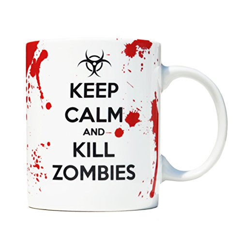 Taza mug desayuno de porcelana blanca 30 cl. Modelo Keep Calm and Kill