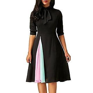 Amlaiworld Women Dresses,Women Casual Dress Ladies Half Sleeve DressEvening Party Dress (L, Black)