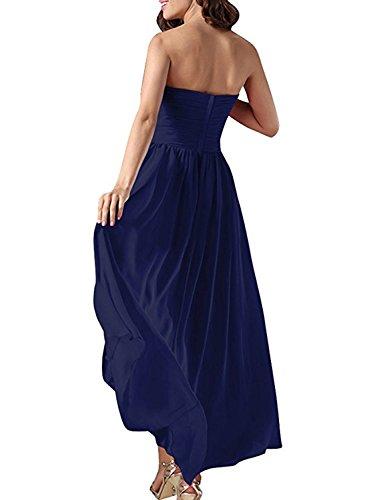 Azbro Women's Elegant Strapless High Low Cocktail Solid Dress Deep Blue