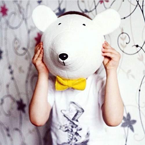 XuBa Cartoon 3D Tierform Wand hängend Stofftier Spielzeug für Kinderzimmer Kindergarten Dekoration White Bear (Bear Ohren White)