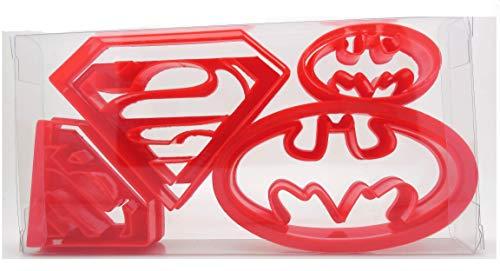Super Héros Lot de 4 Superman/Batman Logo en forme de biscuit, Pâtisserie, Cutter Fondant Cookie Cutter, dans une boîte cadeau