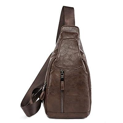 Outreo Sac Besace Cuir Sac bandoulière Homme Sacoche en école Sac Porté épaule Vintage Sac à Poitrine Voyage Chest Bag pour Sport