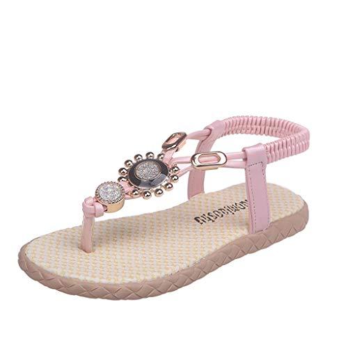 feiXIANG Strand Sandalen T-Strap Strass Prinzessin Schuhe Boho Kinder Wanderschuhe Sommer Outdoor Flach Flip Flops(Rosa,30)