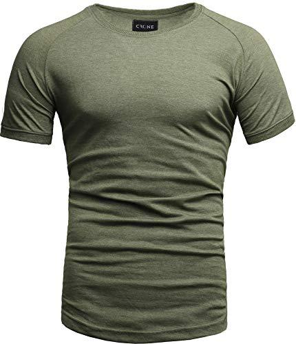 Crone Cuba Basic Herren Kurzarm Rundhals T-Shirt Custom Fit in vielen Farben Vegan (L, Grün) -