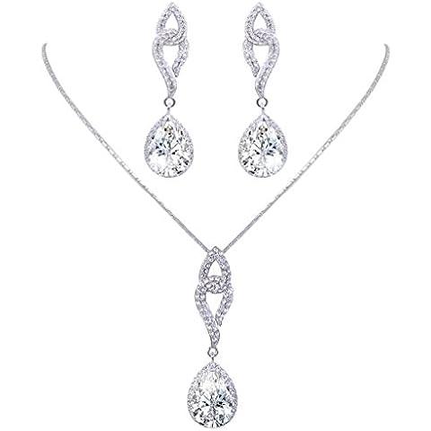 EVER FAITH® Grazia Teardrop collana Wedding orecchini set Cancella Flawless zircone d'argento-Tone