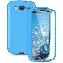 kwmobile Funda para Samsung Galaxy S3 / S3 Neo - Case completa de TPU y cuero sintético - Cover protector Full Body en azul claro