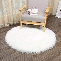Faux Peau de Mouton en Laine Tapis 30 x 30 cm Imitation Toison Moquette Fluffy Soft Longhair Décoratif Coussin de Chaise Canapé Natte (Rond blanc)