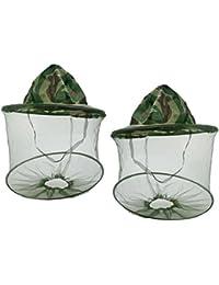 Ularma 2pc Mesh Net Protector de la cara tapa, abeja y Mosquito resistencia sombrero de pesca