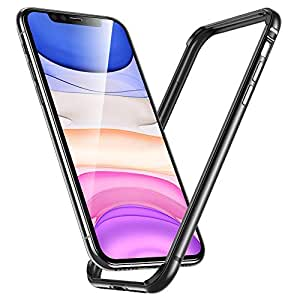 ESR Bumper Case for iPhone 11/iPhone XR,Metal Frame Armor with Soft Inner Bumper [Zero Signal Interference] [Raised Edge Protection]-Grey