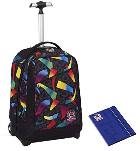 Trolley invicta + cartellina a4 - multicolore mix - nero rosso - spallacci a scomparsa! zaino 35 lt scuola e viaggio