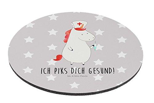 Mr. & Mrs. Panda Mousepad, Schreibtisch, Rund Mauspad Einhorn Krankenschwester mit Spruch - Farbe Grau Pastell