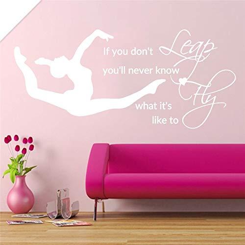 zzlfn3lv Sprung Fly Mädchen Schlafzimmer Aufkleber Gymnastik Vinyl Aufkleber Wand Bettwäsche Dekor Zitate Sport Kunst Schablonen Für Wände DIY 57 * 124 cm