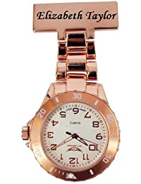 PERSONALIZED PRINCE NY LONDON WHITE SILICONE RUBBER PLASTIC NURSE FOB WATCH NURSE BROOCH IN ROSE GOLD COLOUR