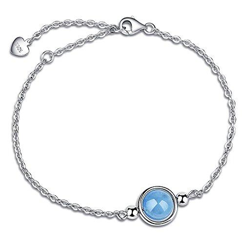 Dalwa 925 Silber Armband für Damen mit Edelstein Aquamarin - Charm Armkette mit Weißgold Überzogen inkl. Geschenkverpackung