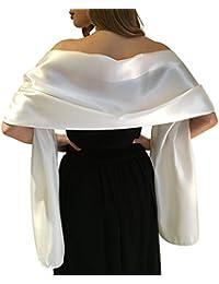 Belle Écharpe Châle Étole Pashmina En Satin Cérémonies Fêtes Mariage Ivoire Noir Blanc Or Violet Argent Gris 2 Taille S-M & L-XL