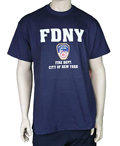 FDNY Short Sleeve White Fire Dept Logo and Shield T-Shirt Navy Xl