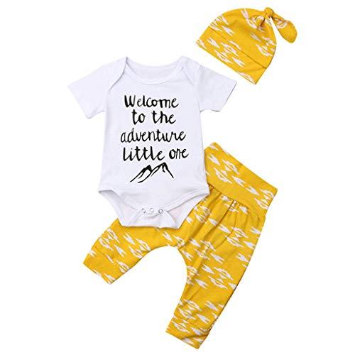 serliy Kleidung Sommer 3 Pc Neugeborenes MäDchen Junge Strampler Baby Short Sleeve Letter Mountain Peak Print Romper + Pants + Hat ()