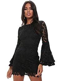 I Saw It First Nude Crochet Mini Dress