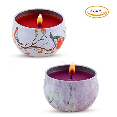 Set regalo candele profumate - lavanda, rosa, cucina candela gynti 100% cera di soia per lo stress sollievo e aromaterapia, candele regalo di natale - 2 pezzi