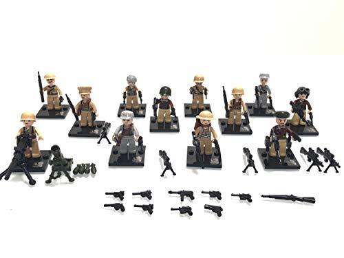 TopBau 12 Stück Millitärspielzeug Mini Figuren Helm und Waffe Set Soldaten Figuren Kompatibel mit Lego Figuren
