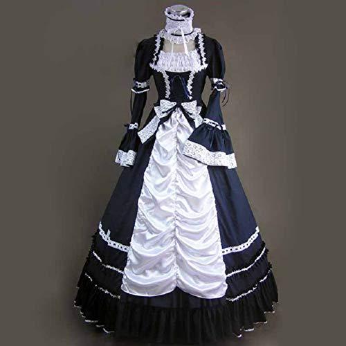 QAQBDBCKL Klassische Frauen Kleid Gothic Lolita Kostüme Halloween Für Frauen Fantasien Cosplay Mädchen Süße Verband Plus Size Kleider
