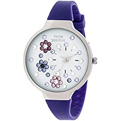 Ladies' THINK POSITIVE® Model SE W113 Flowers Medium Steel Silicone Strap Color Purple