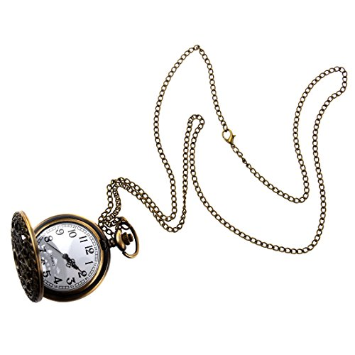 SODIAL(R) Taschenuhr Steampunk Retro Antik Bronze Quartz Uhr Kette Mit Anhaenger