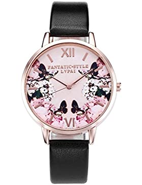 JSDDE Uhren,Modische Schmetterling Blumen Armbanduhr Basel-Stil Damen Uhr PU Lederband Rosegold Analog Quarzuhr...