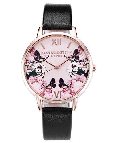 JSDDE Uhren,Modische Schmetterling Blumen Armbanduhr Basel-Stil Damen Uhr PU Lederband Rosegold Analog Quarzuhr,Schwarz