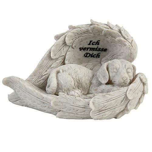 Roomando Tiergrabstein Pfotenstein Grabdeko Hund Katze Engel Kreuz Stecker aus Polyresin (Hund in Zwei Flügeln Ich vermisse Dich)