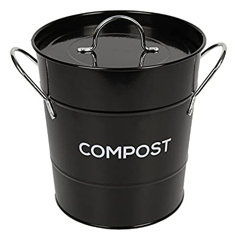 Black Metal Kitchen Compost Caddy - Composting Bin for Food Waste Recycling