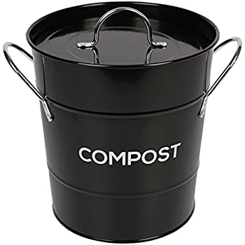 black metal kitchen compost caddy composting bin for food waste recycling