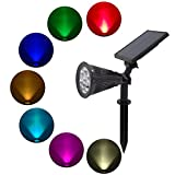 Solar Spotlights - 7 Colors Change Solar Lights - Outdoor Lights for the Yard Patio Garden Lawn - Landscape Wall Light Waterproof Security